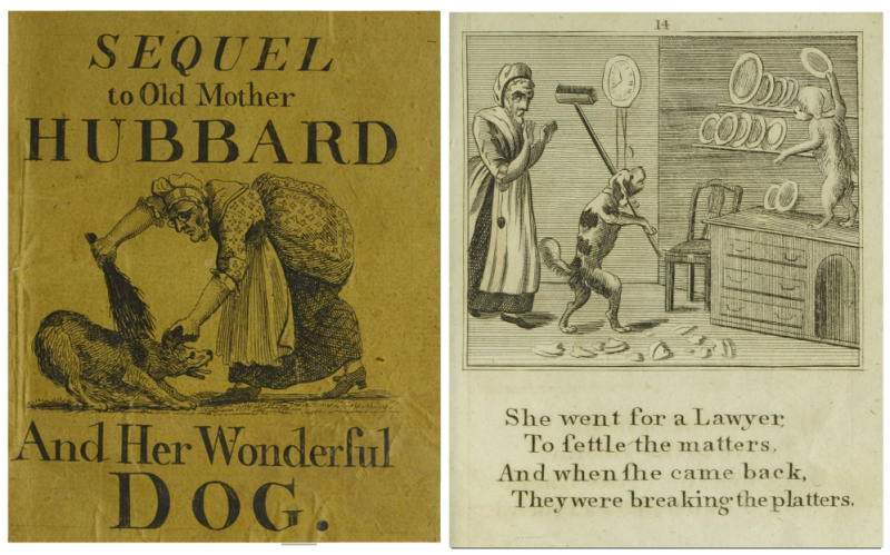 Book cover the reads Sequel to Old Mother Hubbard and Her Wonderful Dog show an old lady brushing her dog and to the right is a different page with dogs breaking dishes in a home