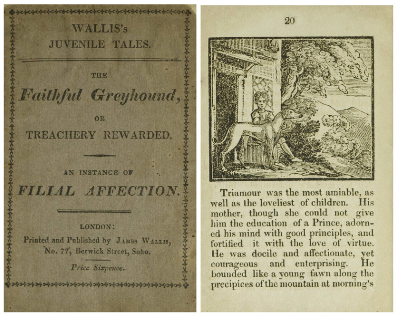 Book cover on left with title and publishing information and a page on right with text and a simple illustration of a boy and a dog
