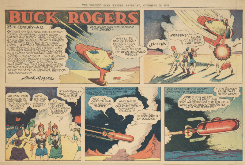 Buck Rogers comic panels in Toronto Star paper with a spaceshipjpg