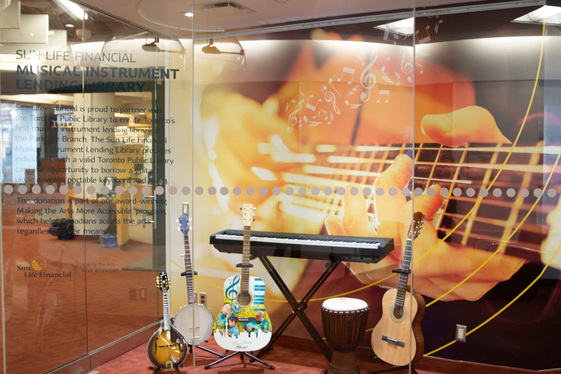 Sun Life Musical Instrument Lending Library display