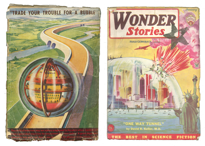 Two book covers  one with a rolling ball that contains a small city and another with a clear dome that is exploding