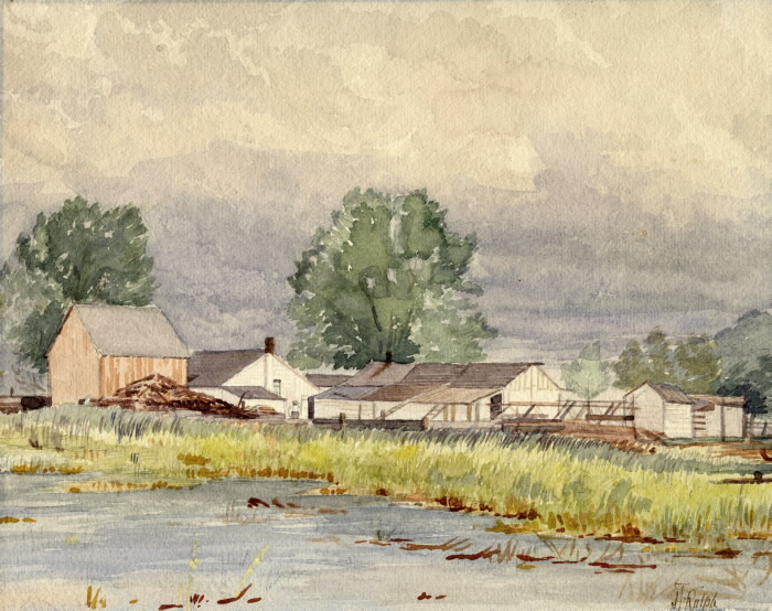 Home of David Ward Sr. on  Centre Island. painted by J.T. Rolph, 1880