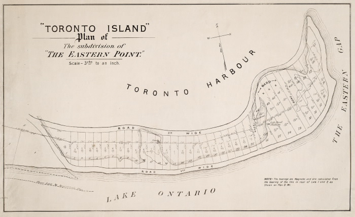 """Toronto Island, Plan of the subdivision of """"The Eastern Point,"""" 1880"""