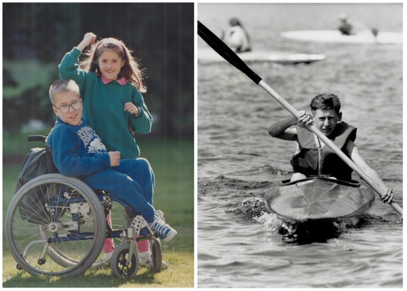 One photo with a boy in wheelchair with Roots clothing and a girl and another photo with a boy paddling in a kayak