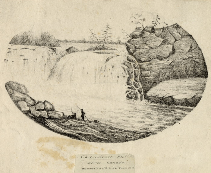 Black and white oval sketch of waterfalls with two figures at base