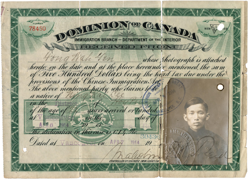 Certificate titled Dominion of Canada Immigration Branch Departement of the Interior showing a stamped portrait of a young man with signatures