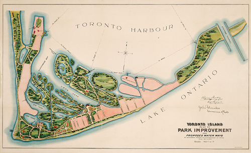 Toronto Island  plan of park improvement and proposed water ways to accompany a report of commissioner of parks  dated Dec. 15th  1903