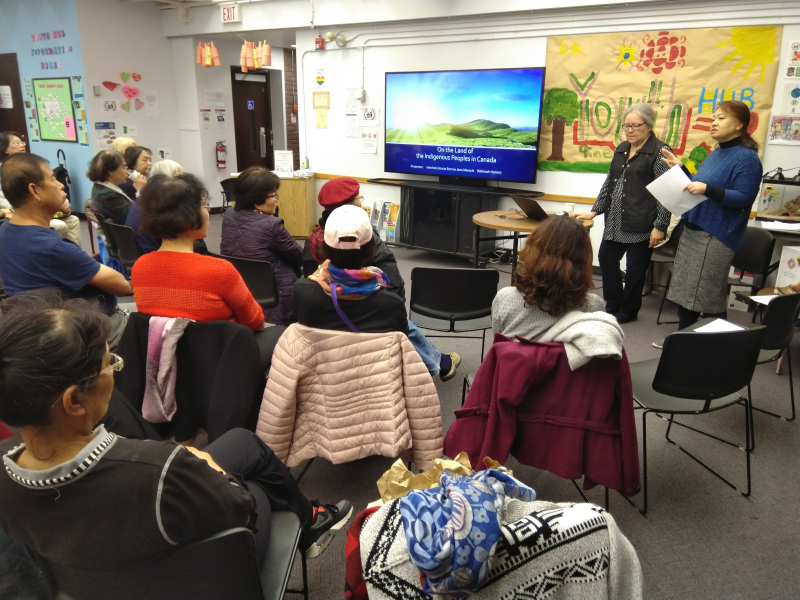 Newcomers learning about Indigenous history
