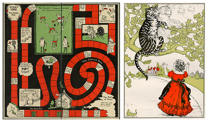 Two images  one of a board game with illustrations inset and another image of a girl in a red dress looking up to a cat on a tree