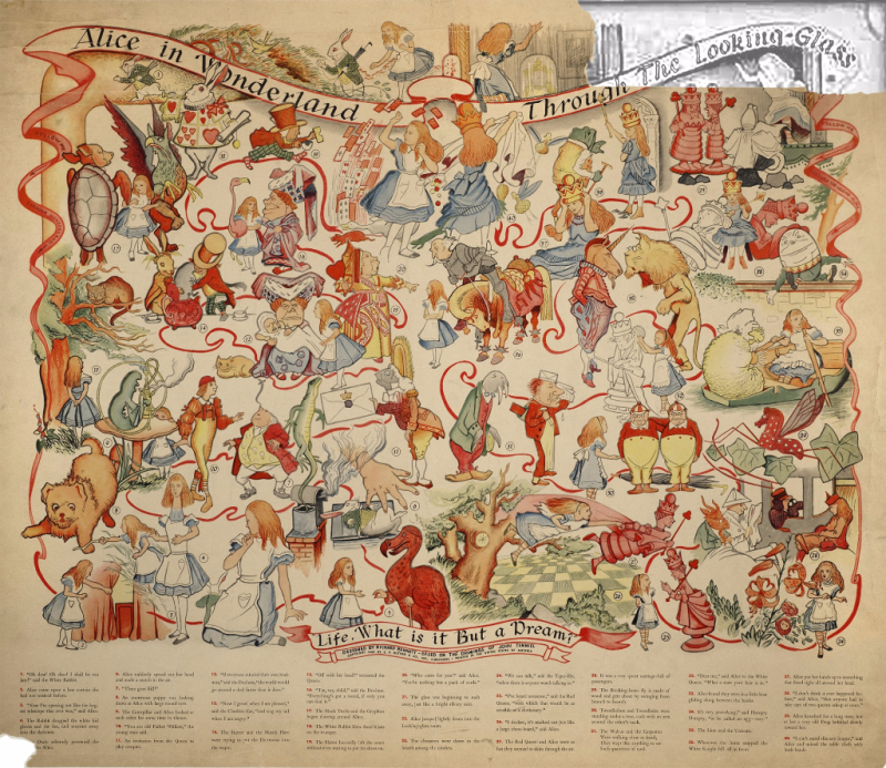 Large poster with torn corner and multiple scenes of illustrated characters and numbers