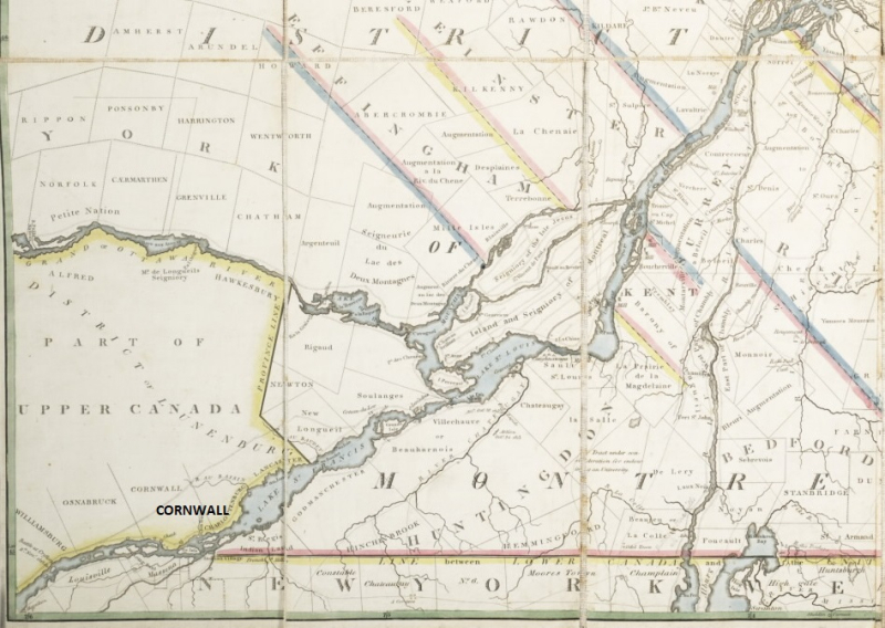 Vintage map showing part of Ontario