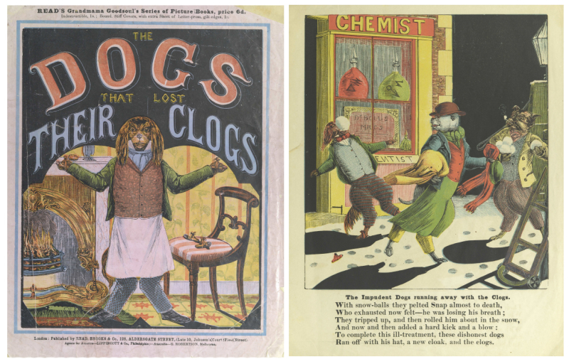 Book cover of The Dogs that Lost Their Clogs with a dressed dog standing in living run with hands up and to the right is a page from the book with dogs running away with clogs and text underneath