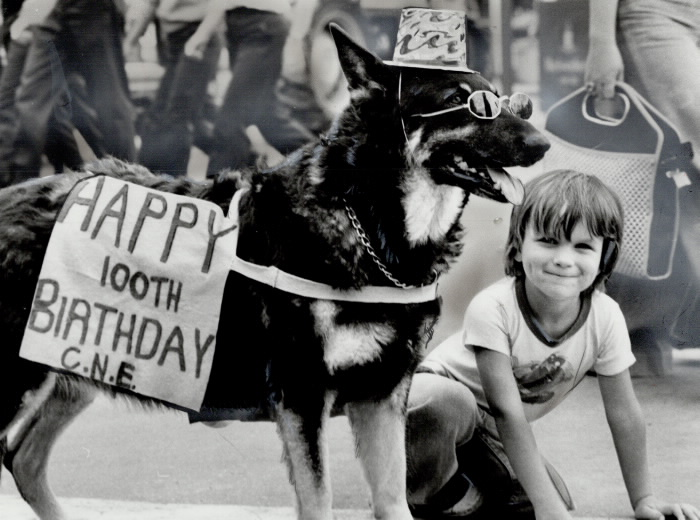 Dog with hat and sunglasses and sign that reads Happy 100th Birthday CNE