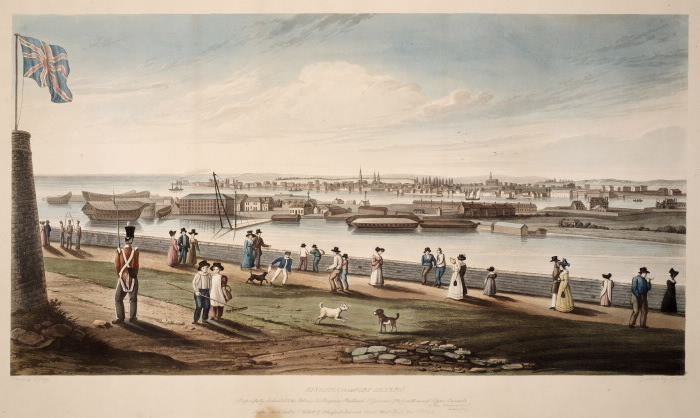 Watercoloured sketch of an old city port with people  a soldier and dogs in the foreground and a turret with a flag