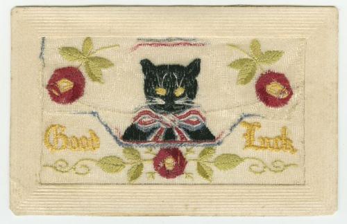 Good Luck vintage black cat silk postcard WW1 era