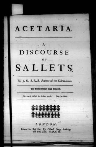 Acetaria a discourse of sallets