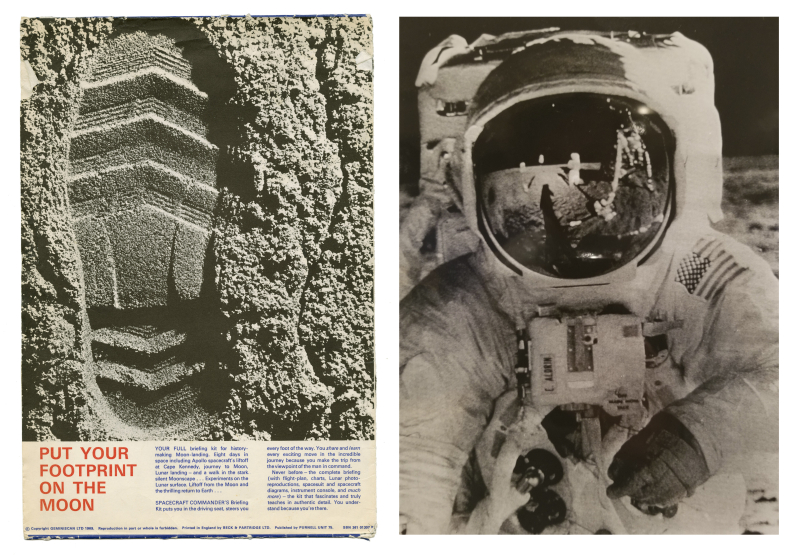 Publication with footprint in moon and photo of astronaut in spacesuit on the moon