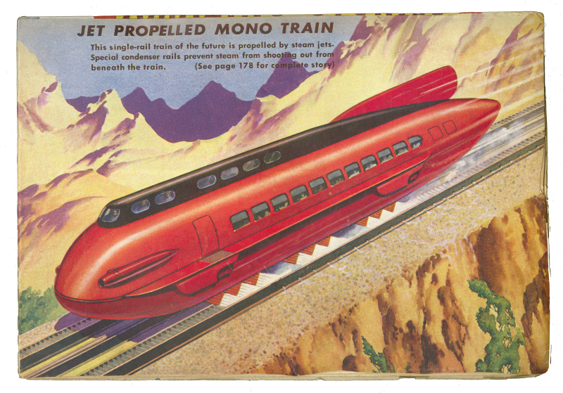 Illustrations of speeding car labeled as a Jet Propelled Mono Train