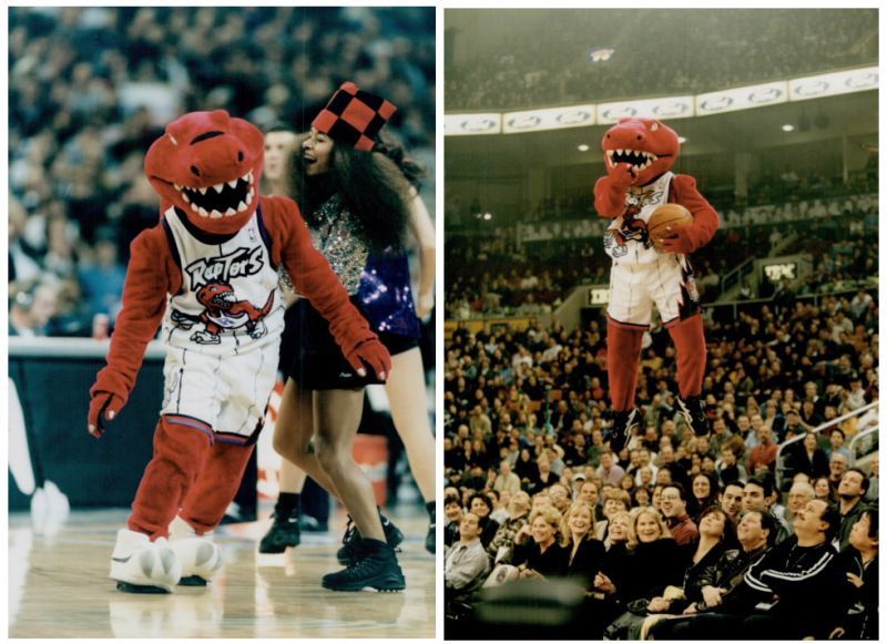 Two photos one with mascot dancing on court the other with the raptor mid-air pointing at camera