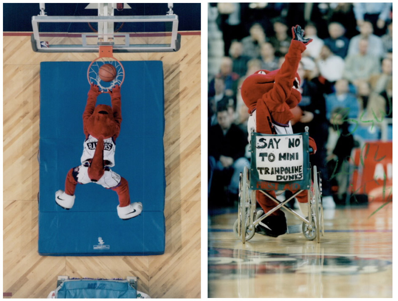 Two photos on with an overhead view of mascot dunking and the other with the mascot in a wheelchair that reads say no to mini trampoline dunks