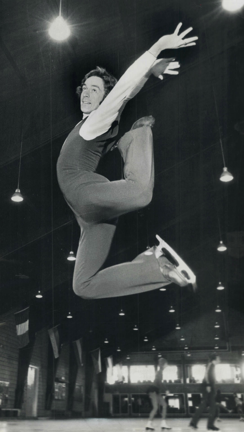 Twice Canadian figure-skating champion  Toller Cranston practises his leaps at the Toronto Cricket  Skating and Curling Club in 1973