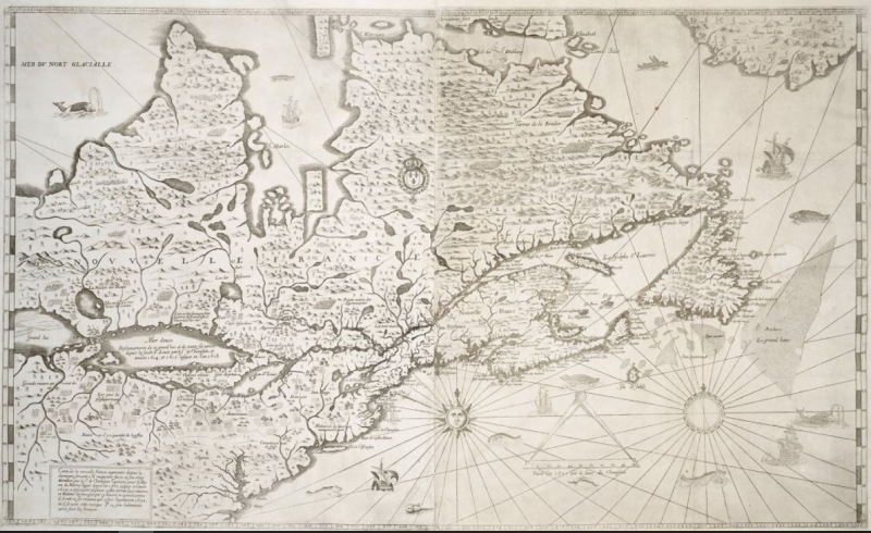 Vintage map in French of what is now Quebec