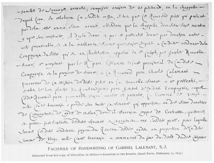 Lalemant handwriting