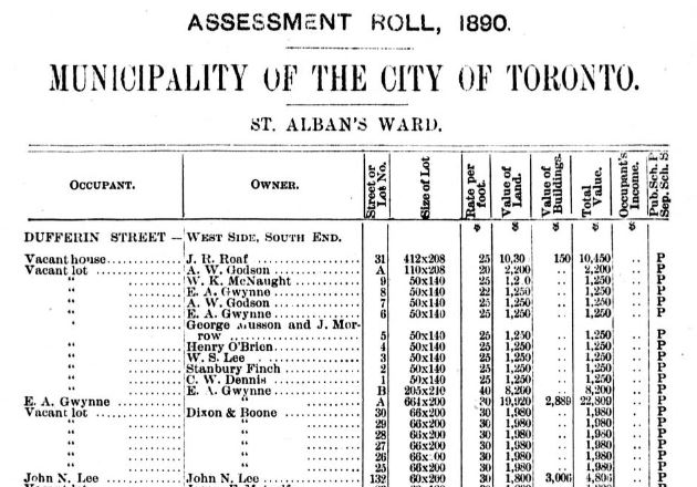 House assessment roll Toronto 2