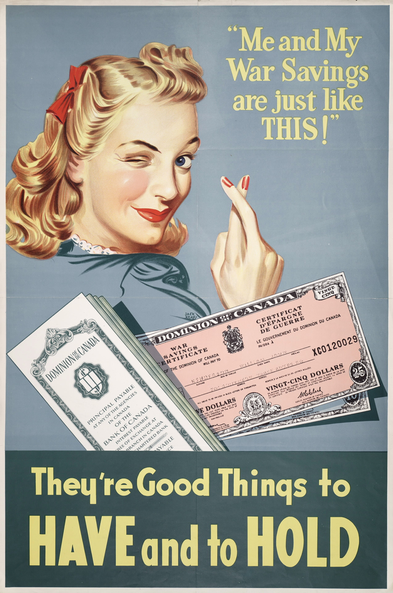 Poster with women winking and crossing fingers with text reading Me and my war savings are just like this and wording below the image reading they're good things to have and to hold