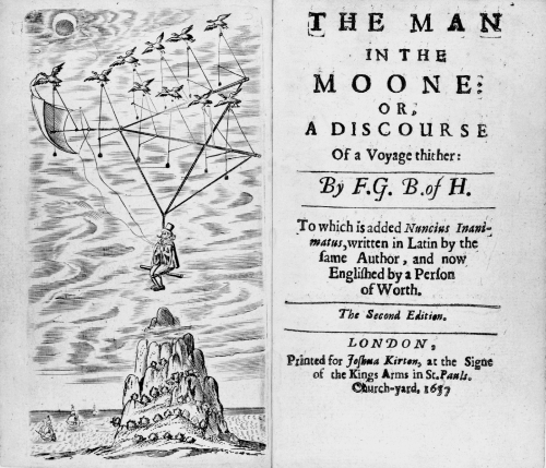 "Frontispiece and title page of the second edition of Francis Godwin's ""The Man in the Moone."""