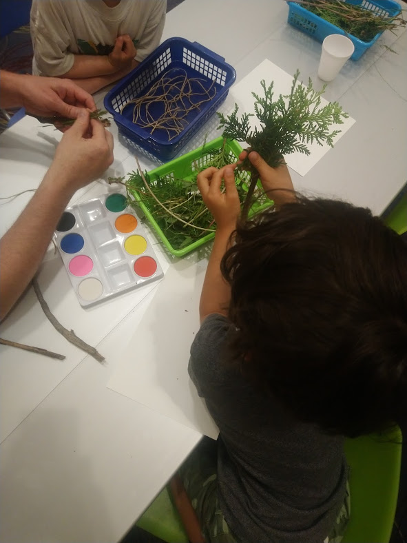 Making Nature Paint Brushes during Family Time at S. Walter Stewart