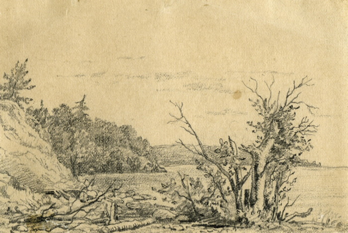 Drawing of Kempenfelt Bay in 1872. The landscape is mostly rock and bushes.