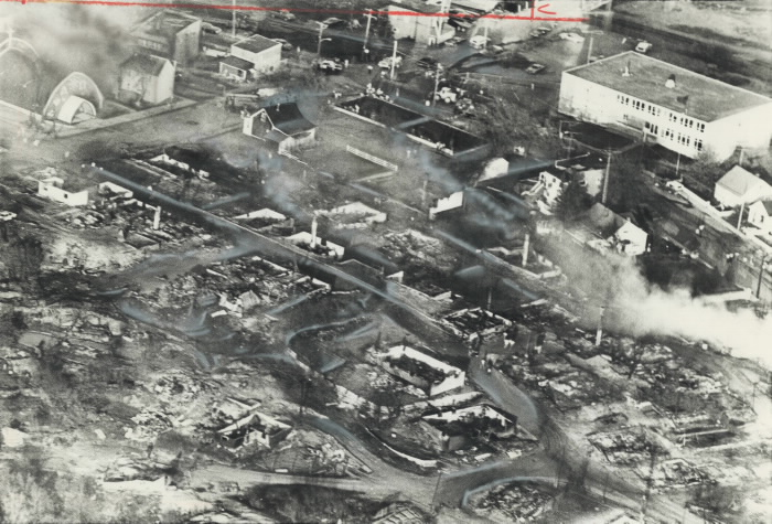 Aerial photo of Cobalt after it was destroyed by fire in 1977.