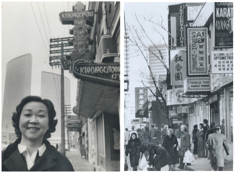 Two photos  one of a woman posing in front of store signs with Toronto City Hall in background and another photog of Chinatown full of people
