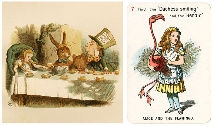 Two images  one of a tea party with a girl and a rabbit and a man with a large hat and the other image is a card with the text Alice and the flamingo with an illustration of a girl holding a big flamingo