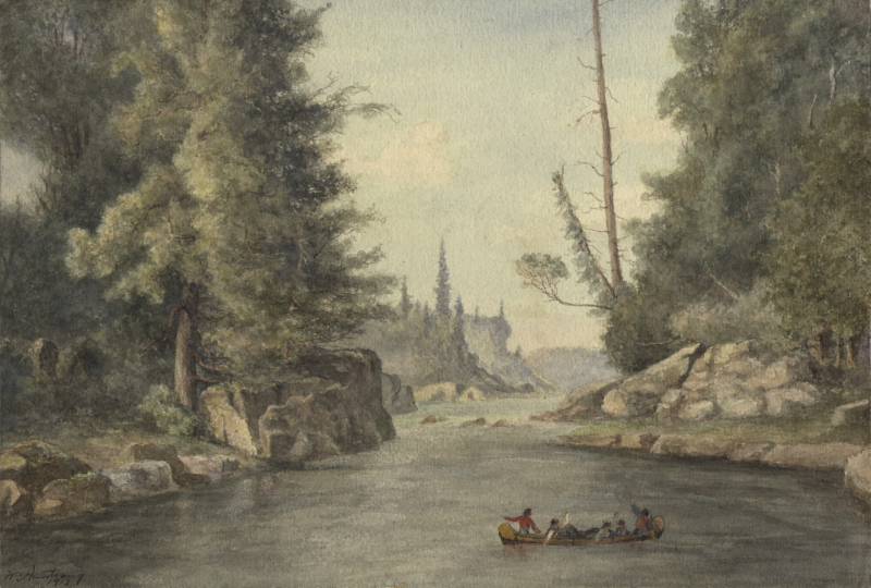 A painting of Indigenous peoples canoeing on the Ogoki River in Thunder Bay, 1869