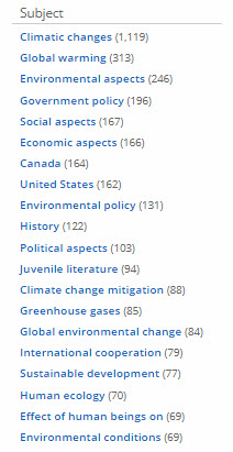 Climate change search result subject list