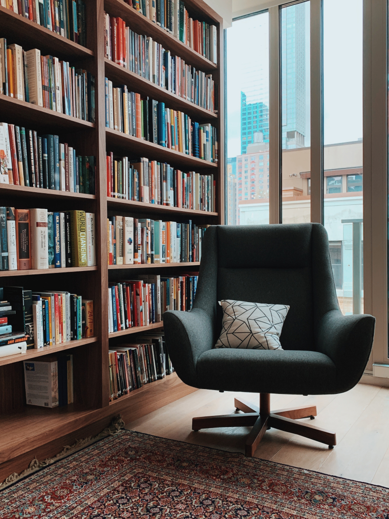 Home office with a grey chair.