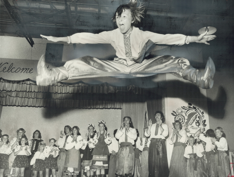 With a dramatic leap   a dancer of the Ilarion ensemble performed at the Ukrainian Poltava in 1975
