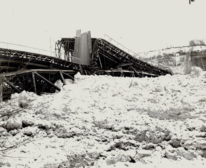 Falls View Bridge fallen apart on top of snow
