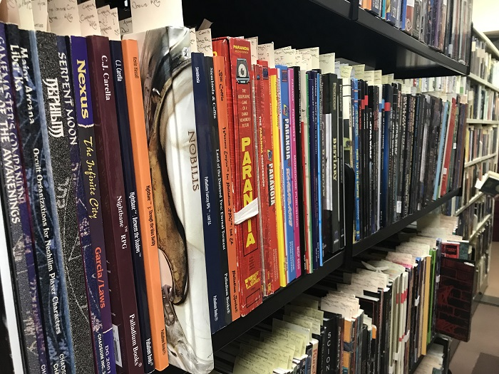 Shelf of role playing game books
