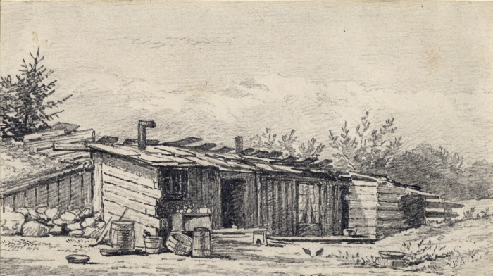 Drawing of a Shanty Bay log house in 1872.