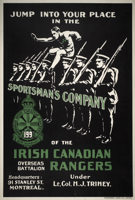 Poster with men lined up in military attire and a man in athletic gear jumping in between with text reading Jump into your place in the sportsman's company of the irish canadian rangers