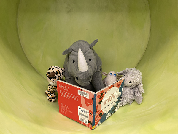 Stuffed animals reading a book together