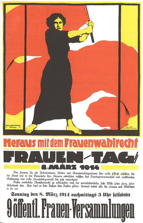 Poster for Women's Day  March 8  1914  demanding voting rights for women.