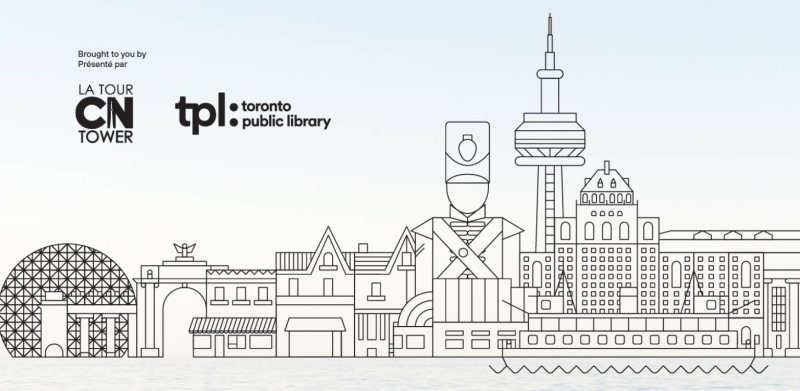 Line drawing of Toronto waterfront with text indicating a partnership between CN Tower and TPL