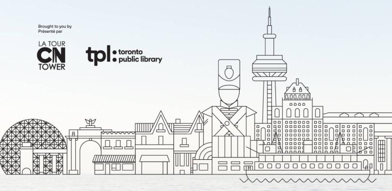Dessin au trait du secteur riverain de Toronto avec texte indiquant un partenariat entre la Tour CN et TPL