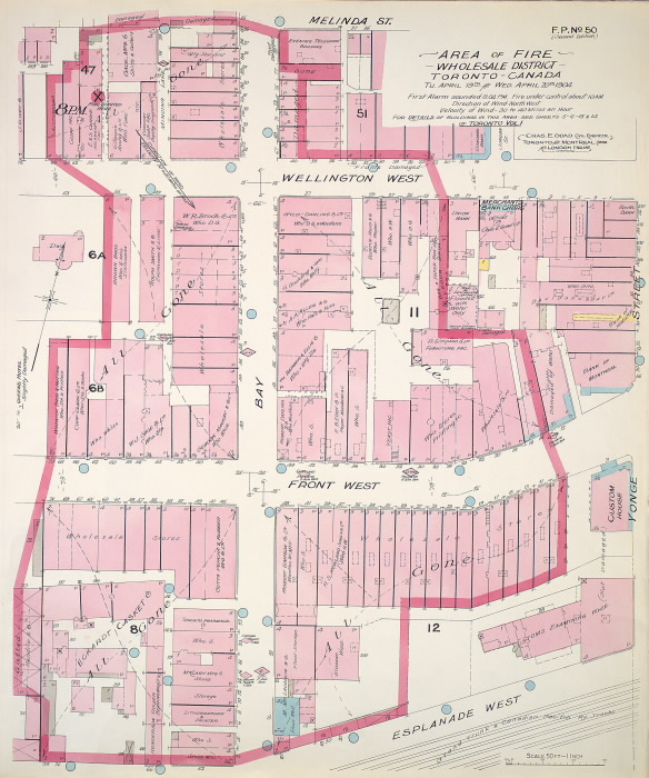 Carte des bâtiments de Toronto avec un contour autour d'une zone choisie