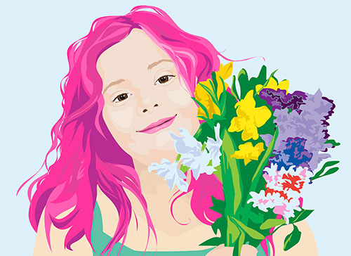 Illustration of girl with pink hair holding flowers