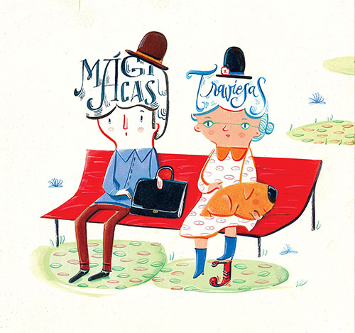 Illustration of man woman and dog on park bench with two words under their hats that read Magicas and traviesas